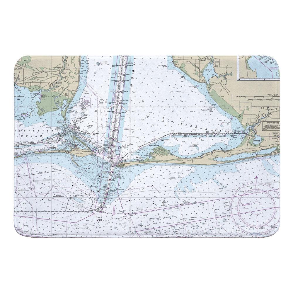 Breakwater Bay Nautical Chart Dauphin Island Fort Morgan Pine Beach Gulf Shores Al Rectangle Memory Foam Non Slip Bath Rug Wayfair