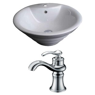 Royal Purple Bath Kitchen Ceramic Circular Vessel Bathroom Sink with Faucet and Overflow