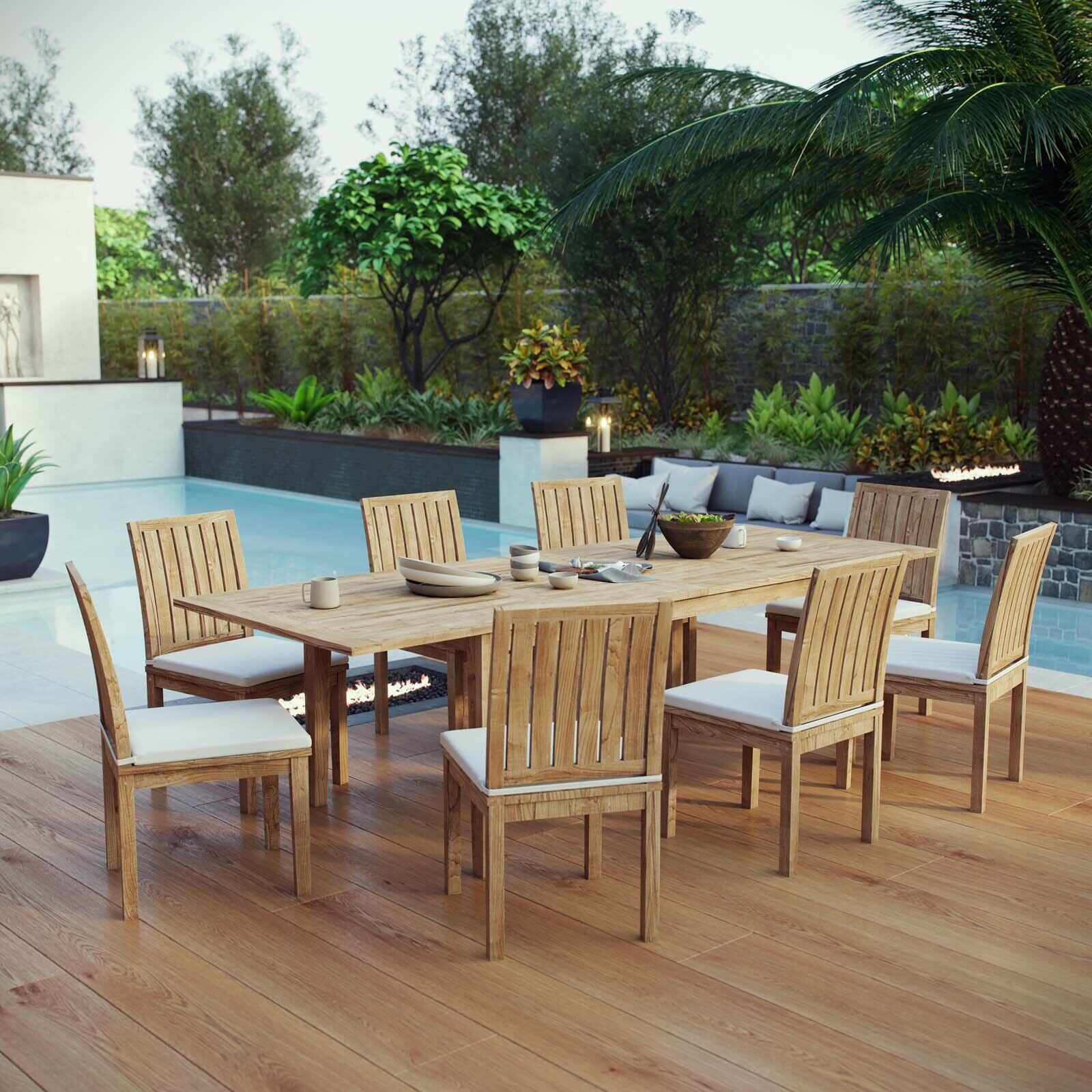 Constance Outdoor Patio 9 Piece Teak Dining Set With Cushions Joss Main