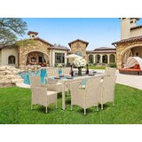 Toppenish Outdoor Backyard 7 Piece Dining Set with Cushions