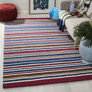 Lew Hand-Tufted Blue/Red Area Rug
