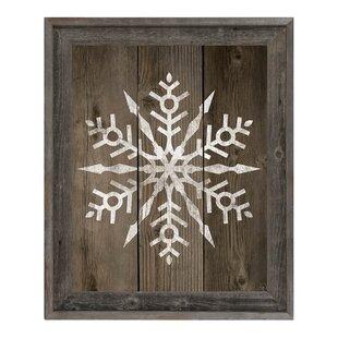 U0027Fancy Snowflake On Decku0027 Framed Graphic Art On Canvas In Barnwood/Grey