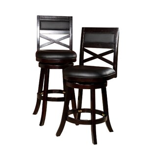 Legrand Leather 24 Swivel Bar Stool by Charlton Home