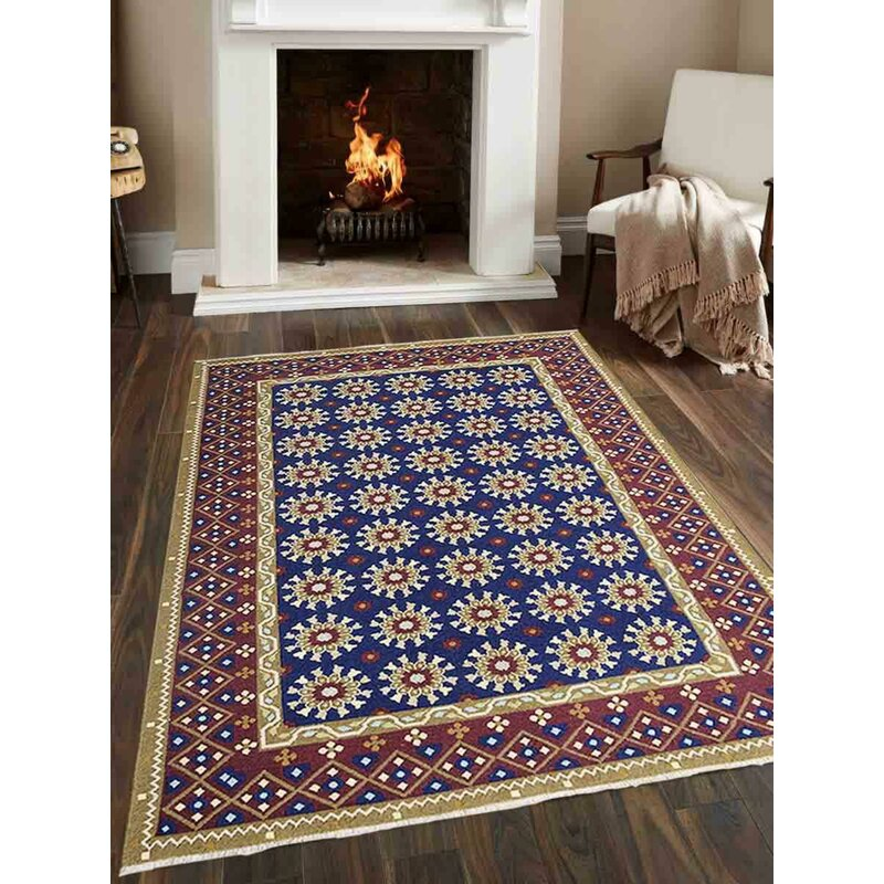 Bungalow Rose Crayton Southwestern Hand Knotted Wool Blue Area Rug Wayfair