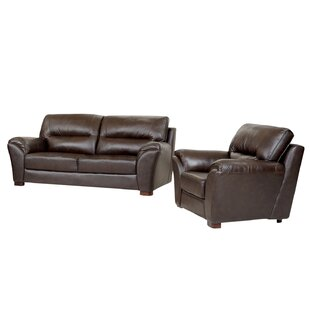 Darby Home Co Schweizer 2 Piece Leather Living Room Set
