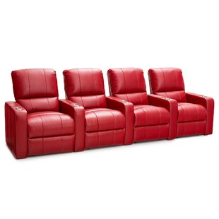 Leather Home Theater Row Seating (Row of 4) By Latitude Run