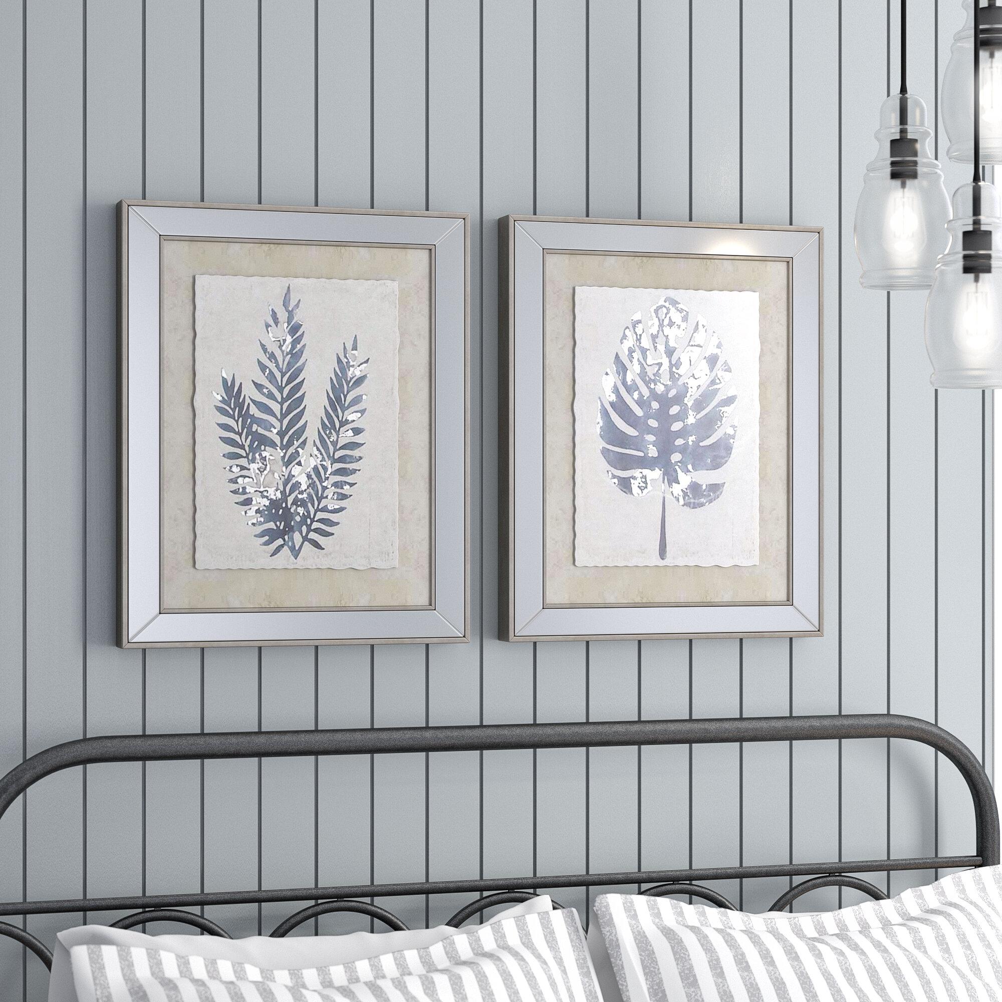 Gracie Oaks \'Modern Leaf Silhouettes\' 2 Piece Framed Graphic Art ...