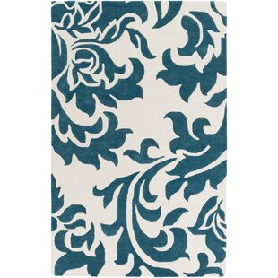 Inexpensive Kiesel Hand-Tufted Teal/Off-White Area Rug By Ophelia & Co.