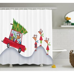 Savings Christmas Reindeer Family Shower Curtain By The Holiday Aisle