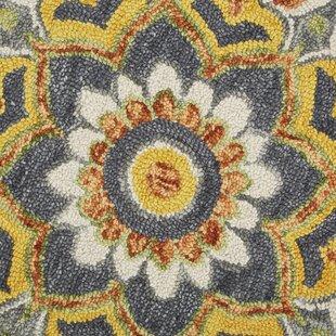 Arla Floral Medallion Gray/Yellow Area Rug