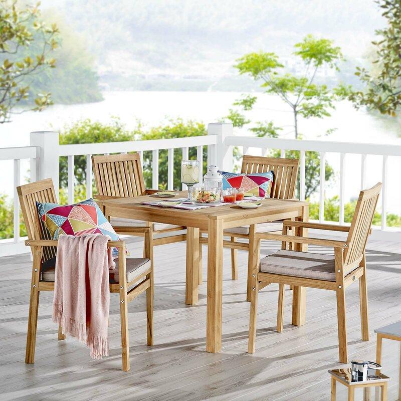 Rosecliff Heights Koa Outdoor Patio 5 Piece Teak Dining Set With Cushions Wayfair