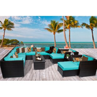 TK Classics Barbados 13 Piece Rattan Sectional Set with Cushions