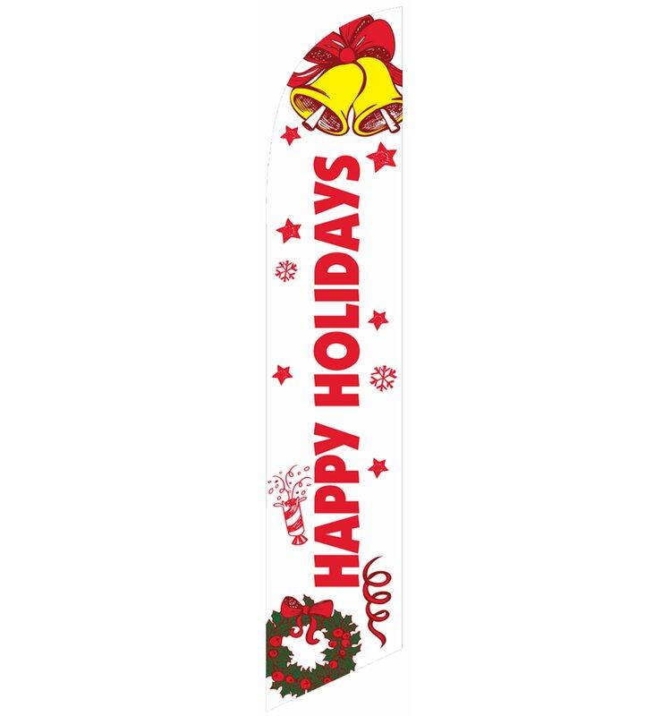 Neoplex Happy Holidays Bells Wreath Polyester 138 X 30 In Feather Banner Wayfair