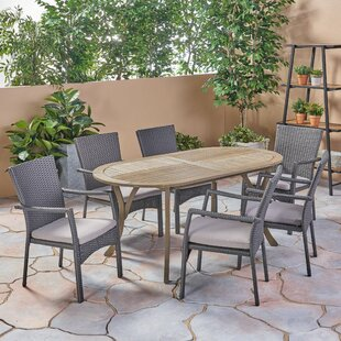 Peete Outdoor 7 Piece Dining Set with Cus..