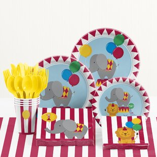 81 Piece Circus Time 1st Birthday Paper/Plastic Tableware Set