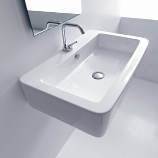 WS Bath Collections Kerasan Ceramic Rectangular Vessel Bathroom Sink with Overflow