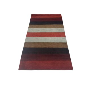 Coupon One-of-a-Kind Fordland Gabbeh Hand-Knotted 2'11 x 5'5 Wool Burgundy/Gray/Black Area Rug By Isabelline