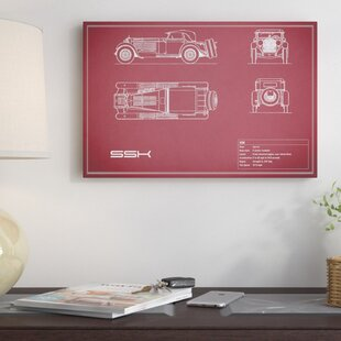 'Mercedes-Benz SSK' Graphic Art Print on Canvas in Maroon By East Urban Home