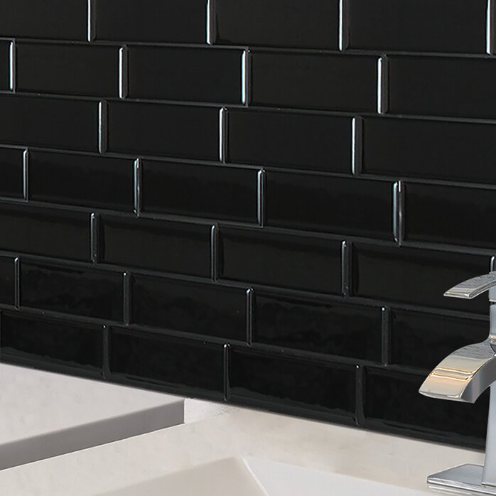 "Black Subway Tile smart tiles mosaik metro nero 11.56"" x 8.38"" peel & stick subway"