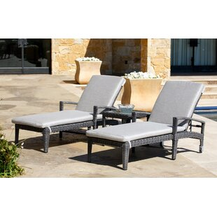 Beam Reclining Chaise Lounge Set with Sunbrella  Cushions by Brayden Studio