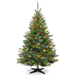6 green spruce trees artificial christmas tree with 400 incandescent multi colored lights - Artificial Christmas Tree Prelit