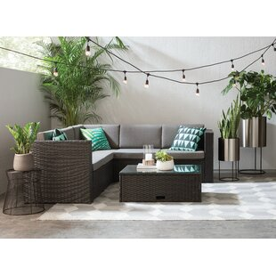 Find Saltville 4 Piece Rattan Sectional Set With Cushions Best Deals