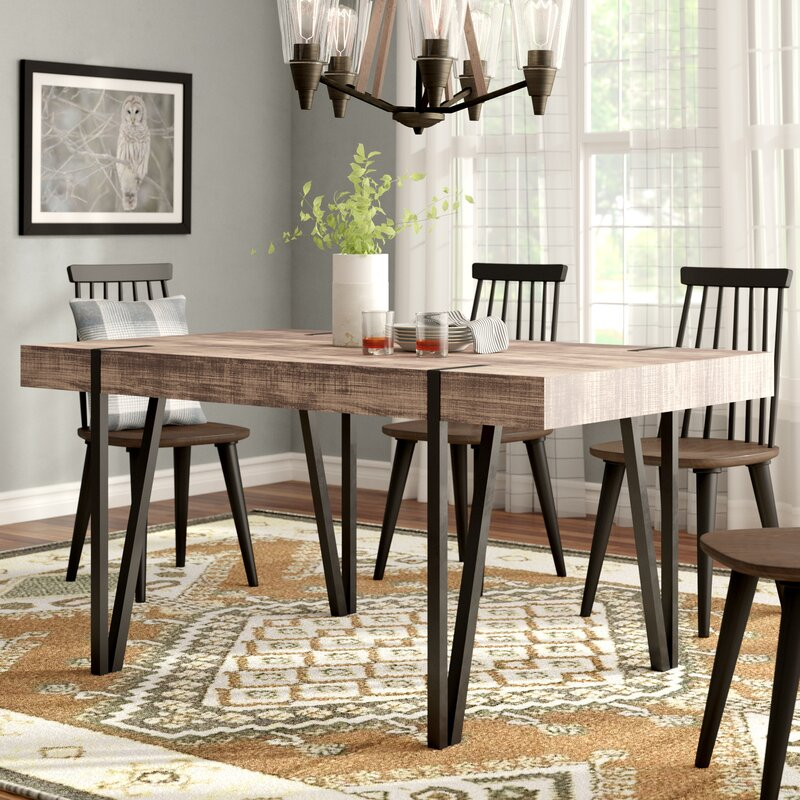 With Its Heavy Duty Solid Wood Table Top And Fashion Forward Rustic Base There S So Much To Love About This Dining The Small