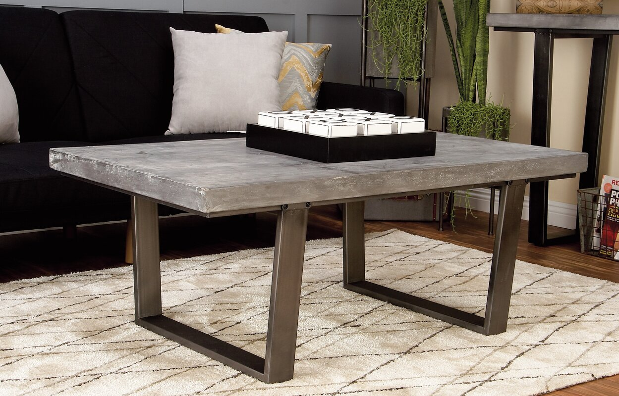 Design Concrete Coffee Table cole grey wood and concrete coffee table reviews wayfair table