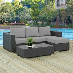 Leda 3 Piece Rattan Sunbrella Sofa Seating Group with Cushions