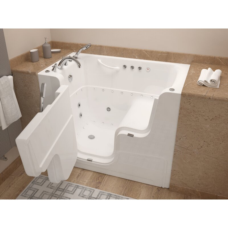 Therapeutic Tubs Mohave 53 X 29 Walk In Air Whirlpool Fiberglass Bathtub With Faucet Light And Integrated Seat Reviews Wayfair