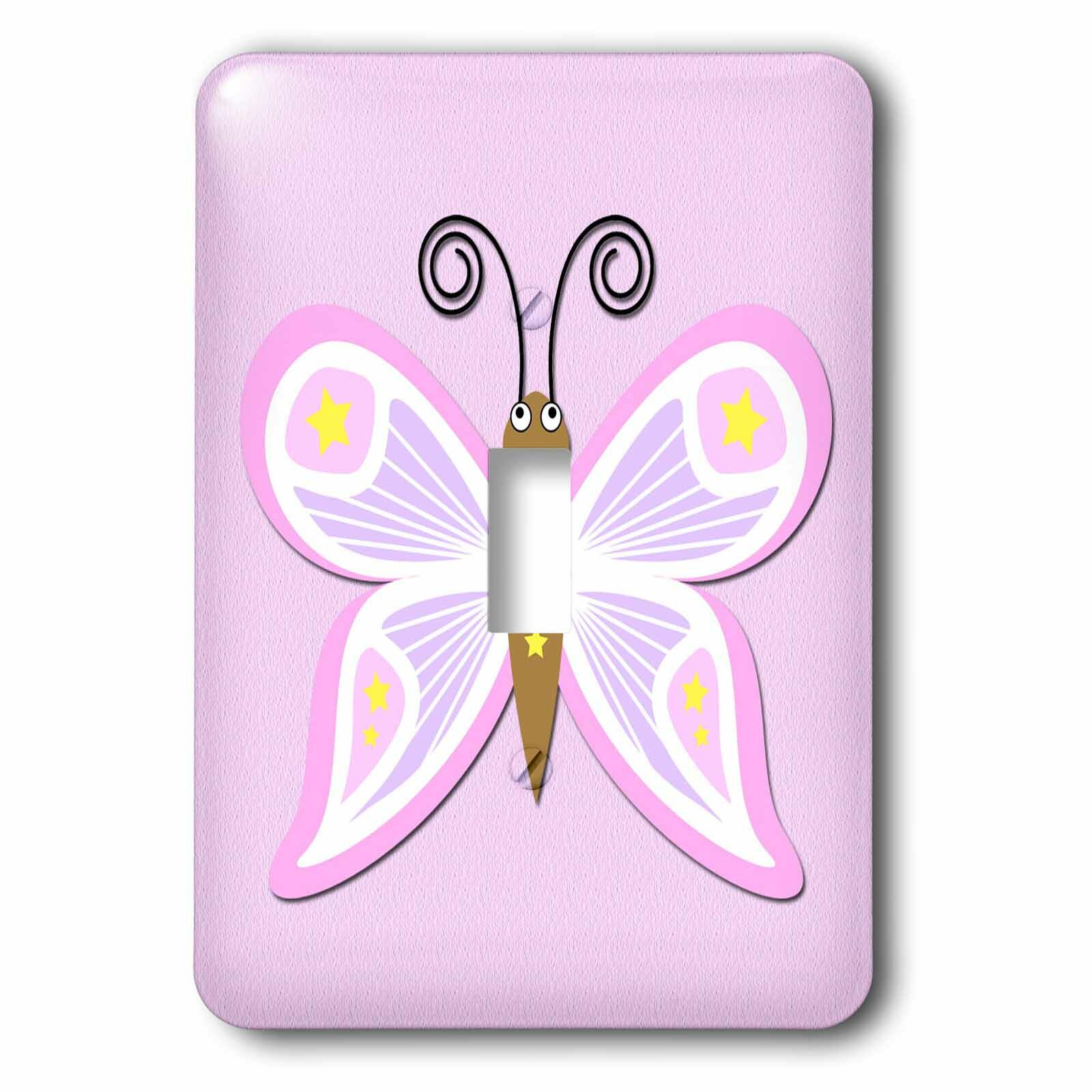 Single Rocker Wall Switch Outlet Cover Plate Decor Wallplate Pink Butterfly Tools Home Improvement Switch Plates