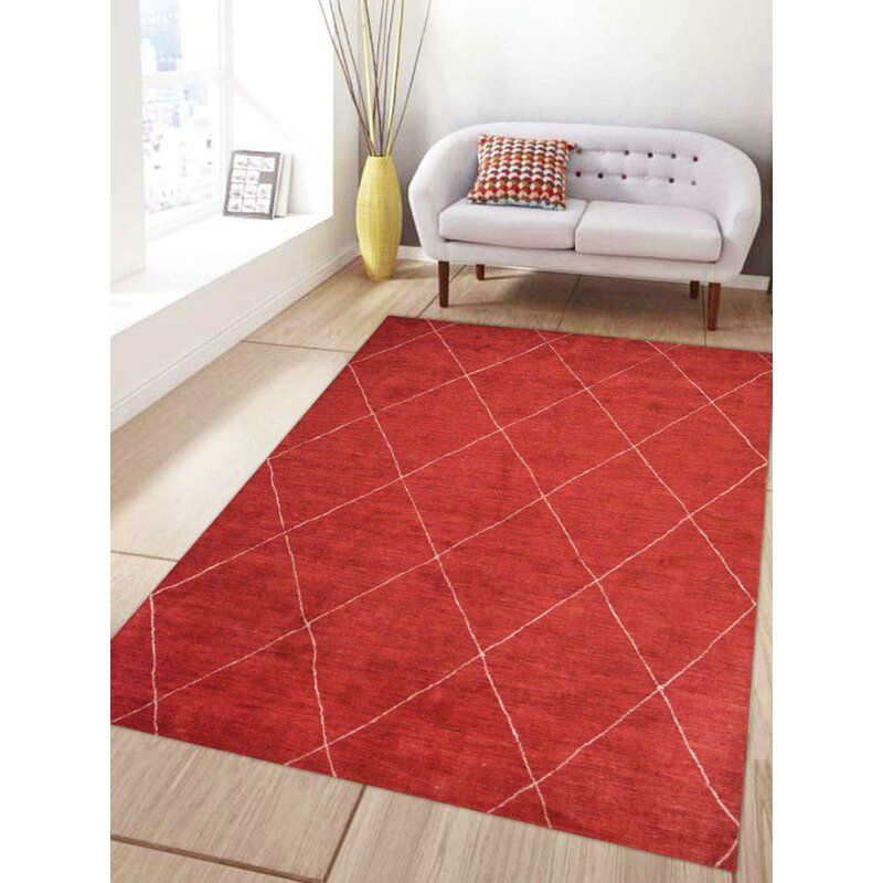 Get My Rugs Gabbeh Hand Knotted Silk Red Area Rug Wayfair