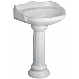 Victoria Vitreous China Circular Pedestal Bathroom Sink with Overflow By Barclay