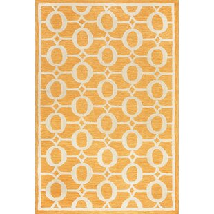 Sherborn Arabesque Hand Tufted Orange Indoor/Outdoor Area Rug