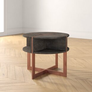 Alle Cross Legs End Table with Storage by Foundstone