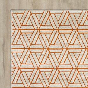 Ginsberg Light Gray Burnt Orange Area Rug Allmodern