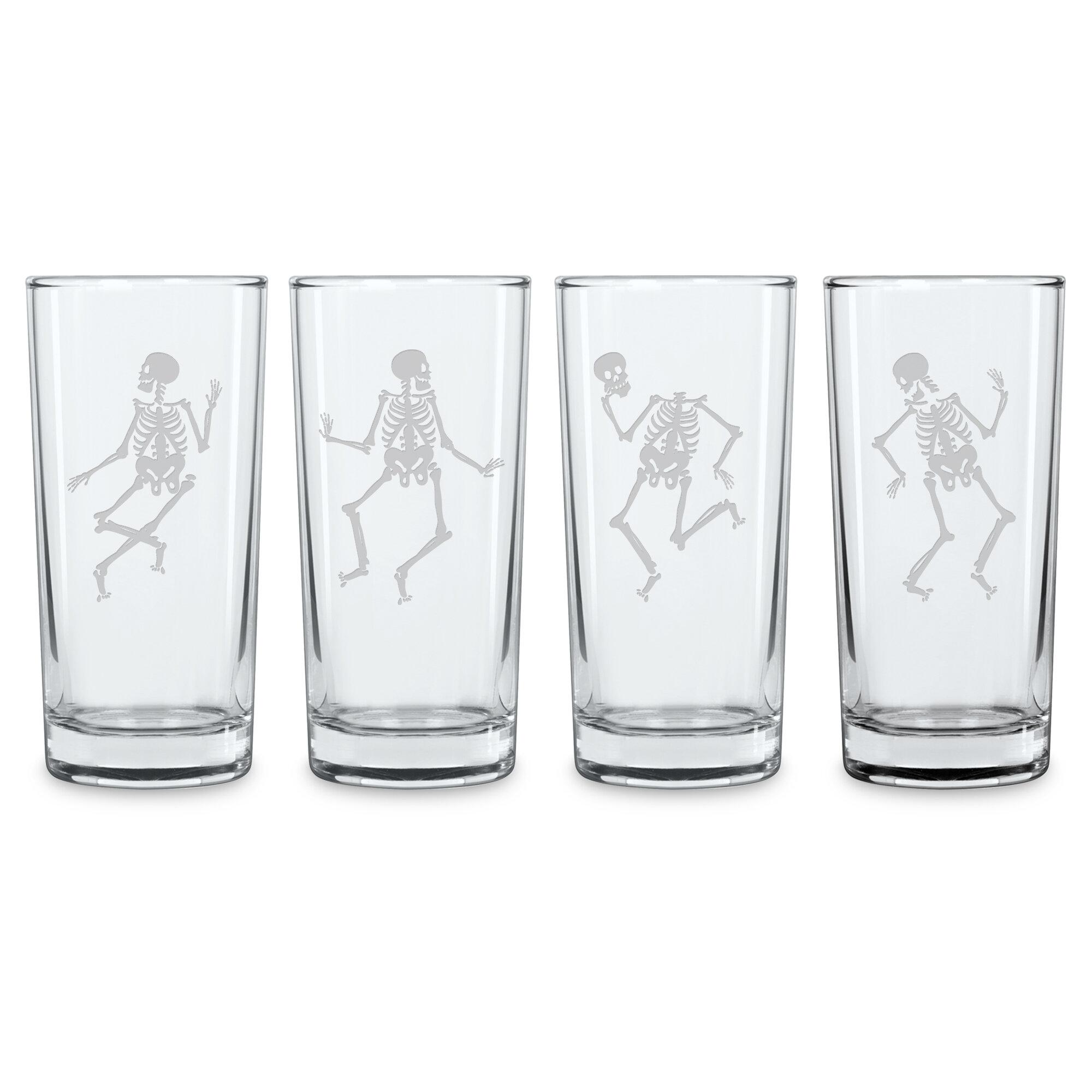 Susquehanna Glass Dance Of The Dead 4 Piece 15 Oz Highball Glass Set Wayfair