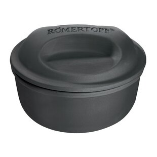 Romertopf 2 Qt. BBQ Line Flame Safe Stainless Steel Round Dutch Oven with Lid