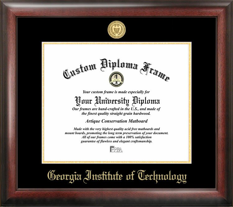 Campus Images Georgia Institute of Technology Gold embossed diploma frame lithograph