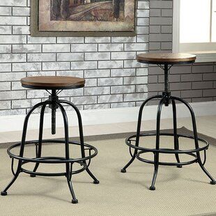Gracie Oaks Weber Adjustable Height Bar Stool (Set of 2)