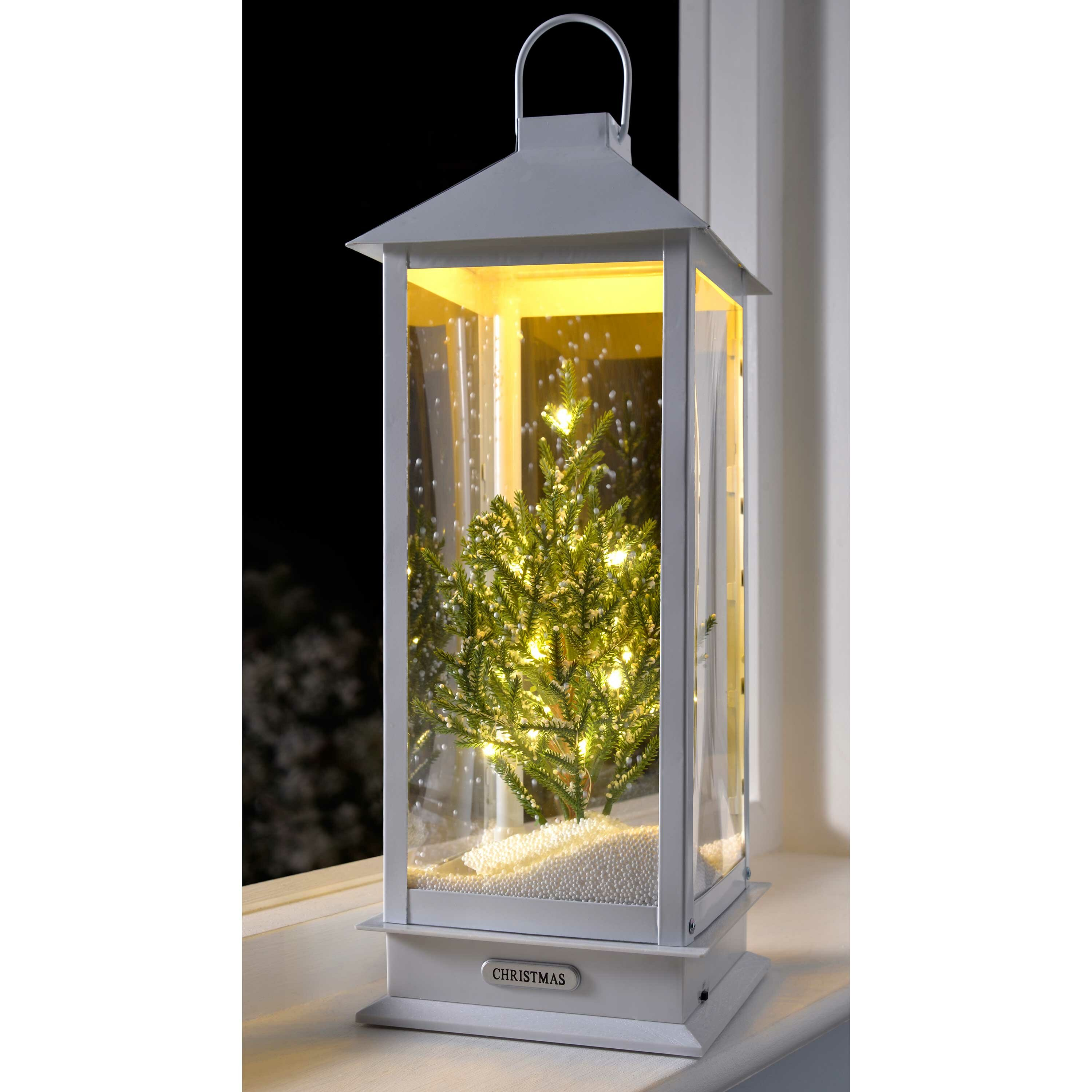 Snowing Christmas Tree.20 White Green Pre Lit Led Snowing Christmas Tree Wood Lamp
