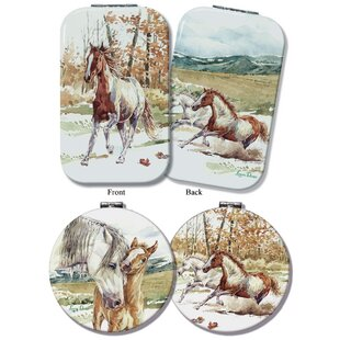 Read Reviews 2 Piece Parise Wild Mustang Compact Mirror Set By Loon Peak