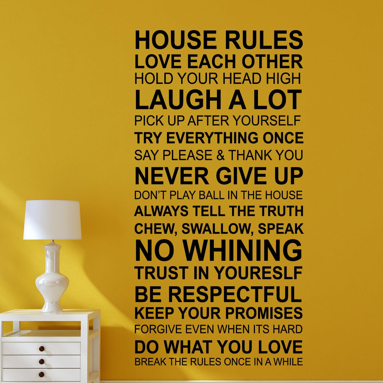 Walplus House Rules Quote (EN) Wall Decal   Wayfair