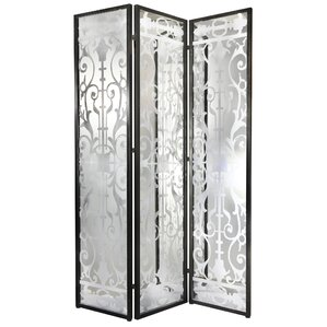 Aline 78 X 54 Decorative Screen Glass Iron 3 Panel Room Divider