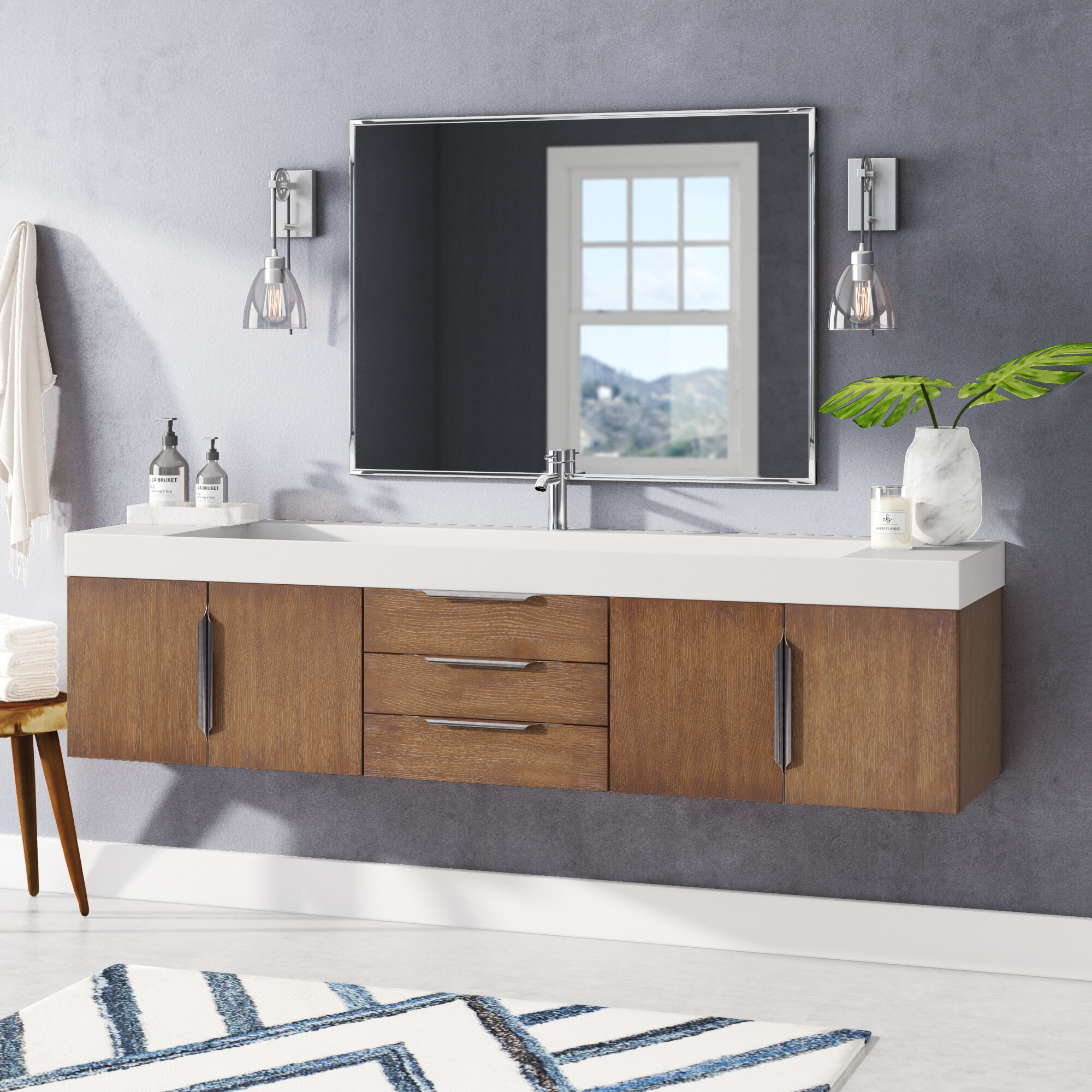 Brilliant Whitstran 73 Wall Mounted Single Bathroom Vanity Set Interior Design Ideas Philsoteloinfo