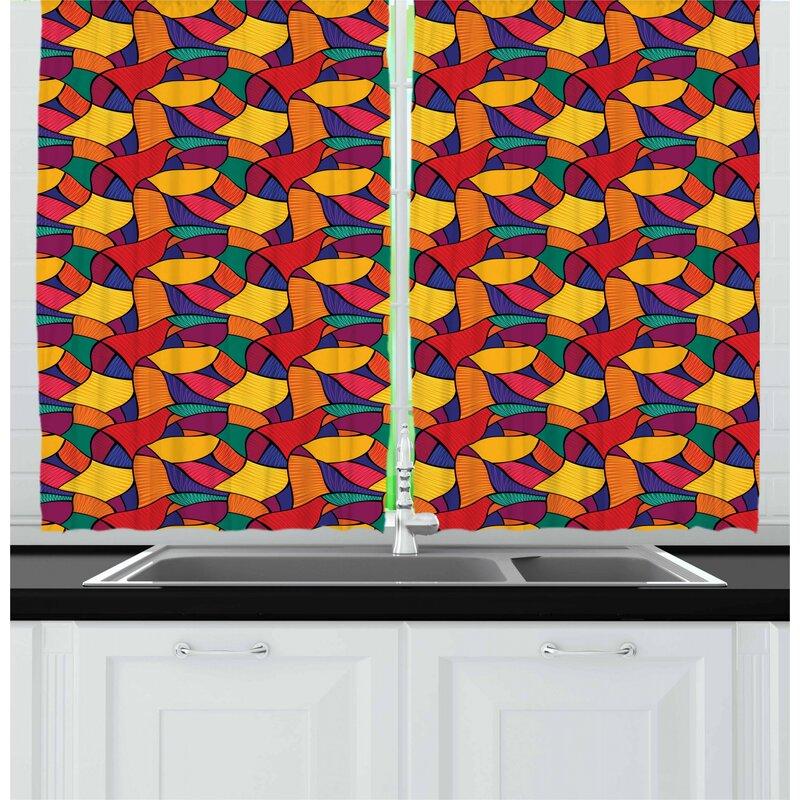 East Urban Home Colorful Kitchen Curtain Wayfair