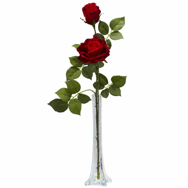 Nearly Natural Roses Wtall Bud Vase Silk Floral Arrangements