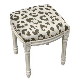Warrick Rustic Cheetah Linen Upholstered Vanity Stool