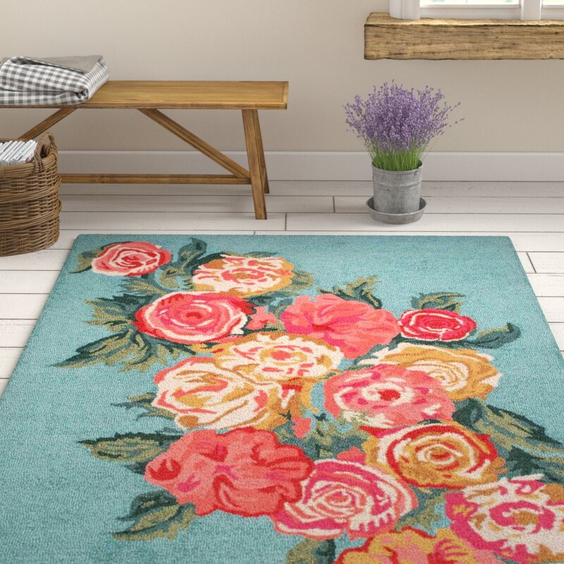 August Grove Jeanlouis Hand-Hooked Light Blue/Pink Area Rug