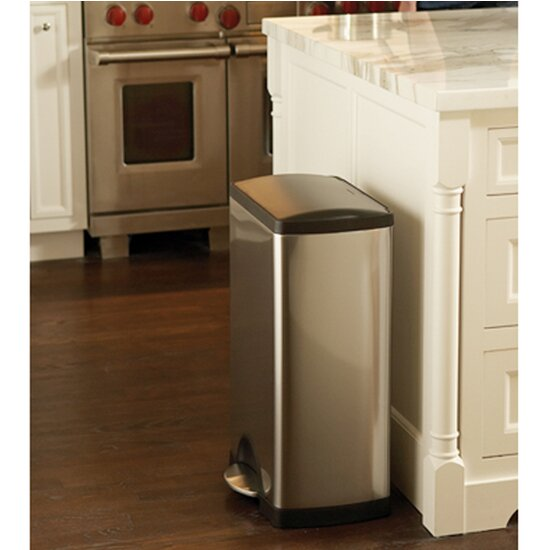 simplehuman step-on stainless steel 13 gallon trash can & reviews